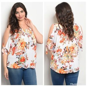Tops - Plus Size Cold Open Shoulder Top Blouse 1x 2x 3x
